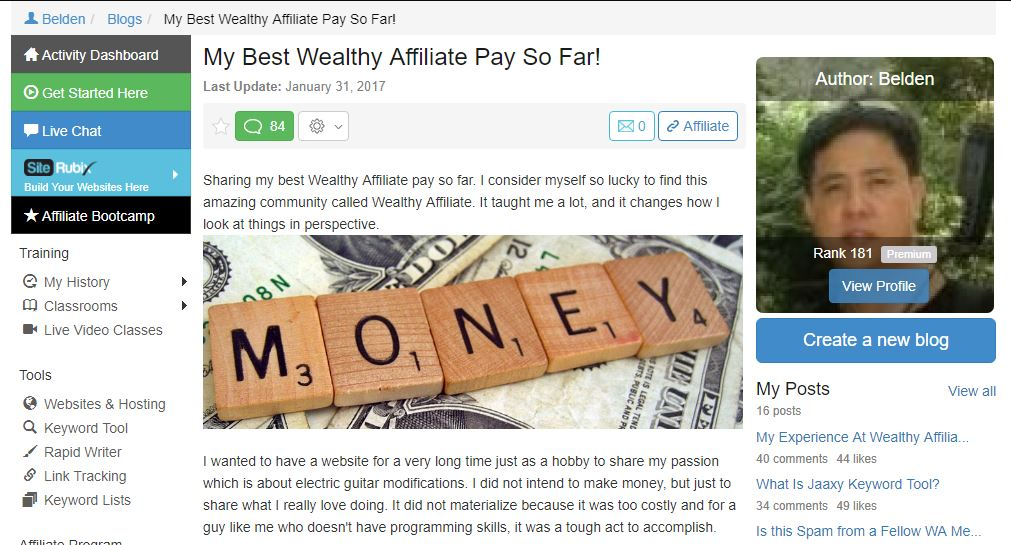 Belden Profile at Wealthy Affiliate- Quit That Day Job