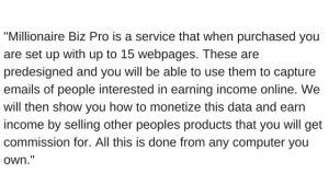 What is Millionaire BizPro- Legit or A Scam