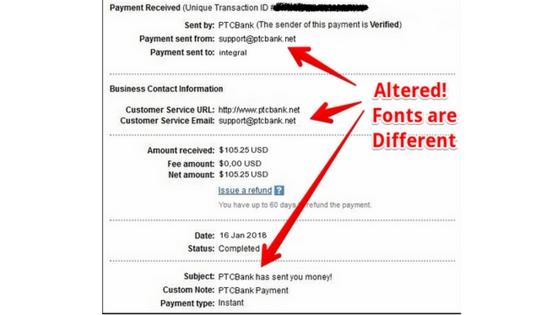 Altered Payment Proof!